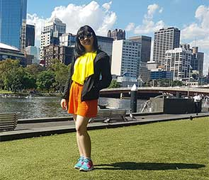 Samantha Lim taking in the sights and sunshine along the Yarra River