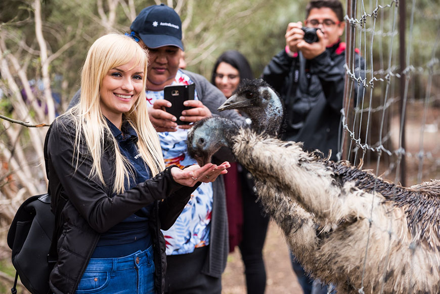 International Students with an emu